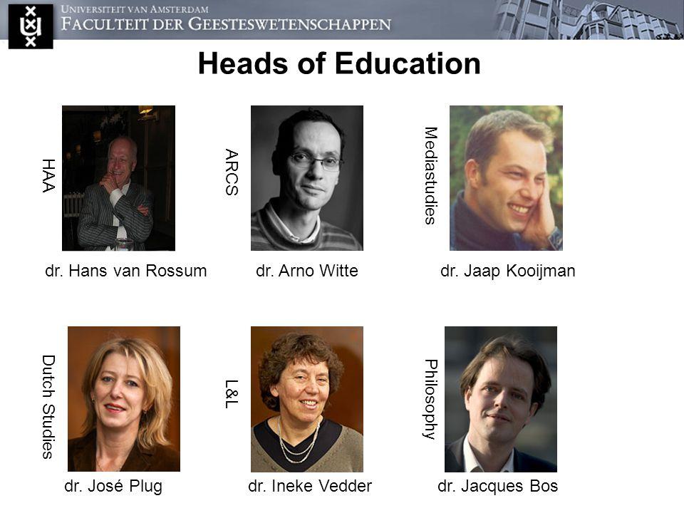 De onderwijsdirecteuren Heads of Education dr. Hans van Rossum HAA ARCS dr.