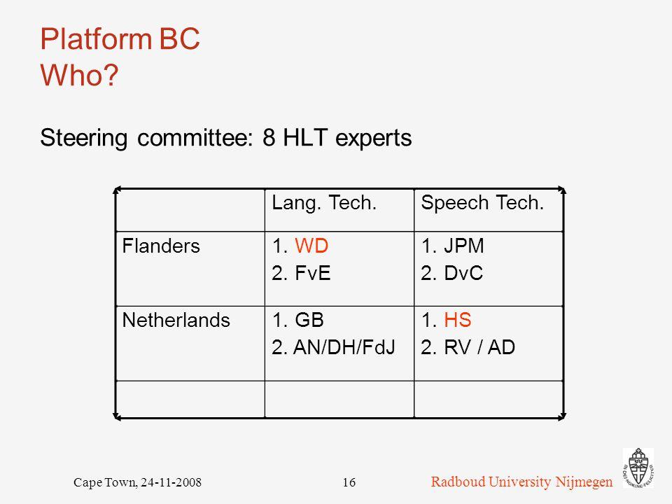 Radboud University Nijmegen Cape Town, 24-11-200816 Platform BC Who.