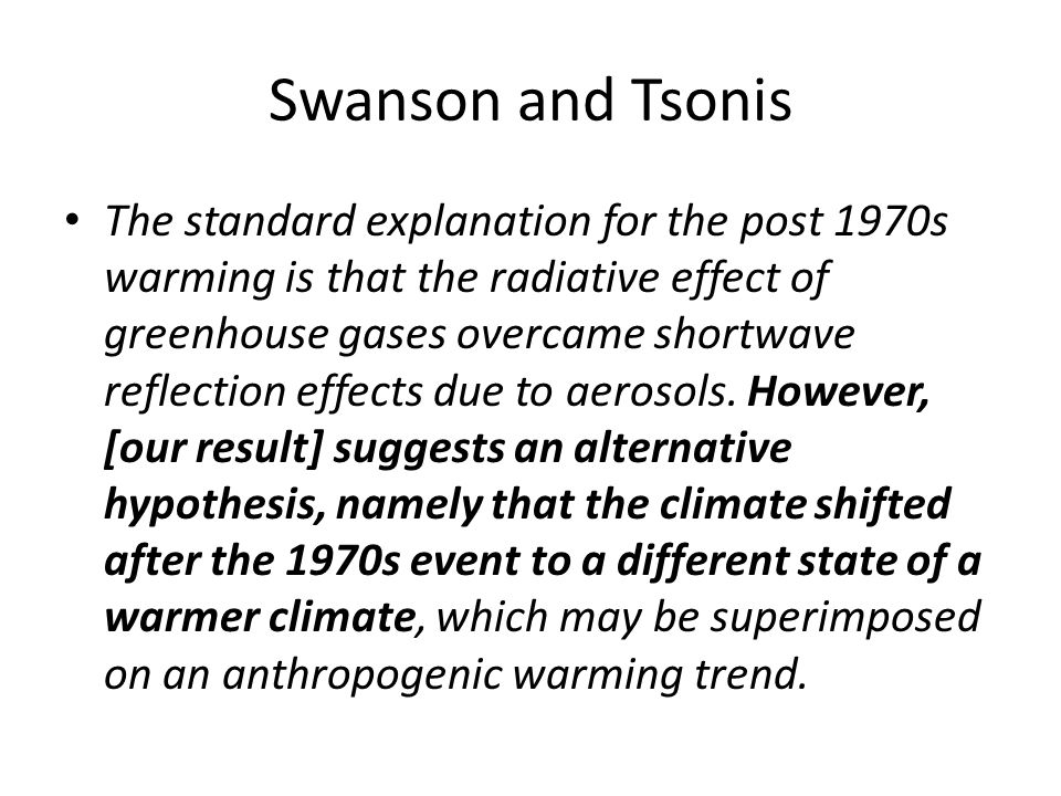 The standard explanation for the post 1970s warming is that the radiative effect of greenhouse gases overcame shortwave reflection effects due to aerosols.
