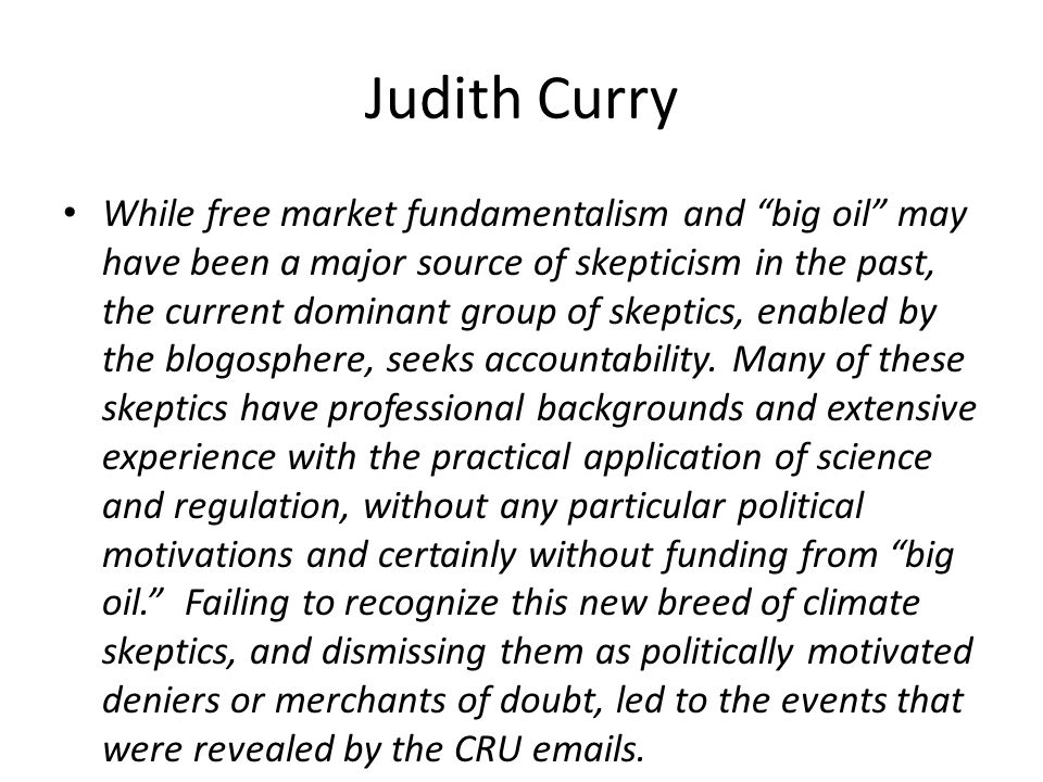 Judith Curry While free market fundamentalism and big oil may have been a major source of skepticism in the past, the current dominant group of skeptics, enabled by the blogosphere, seeks accountability.
