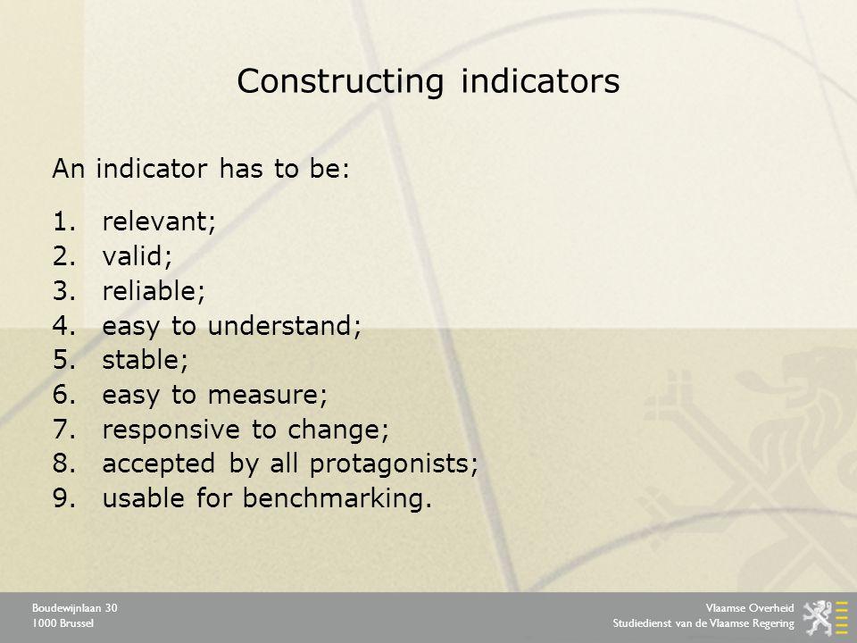 Vlaamse Overheid Studiedienst van de Vlaamse Regering Boudewijnlaan 30 1000 Brussel Constructing indicators An indicator has to be: 1.relevant; 2.vali