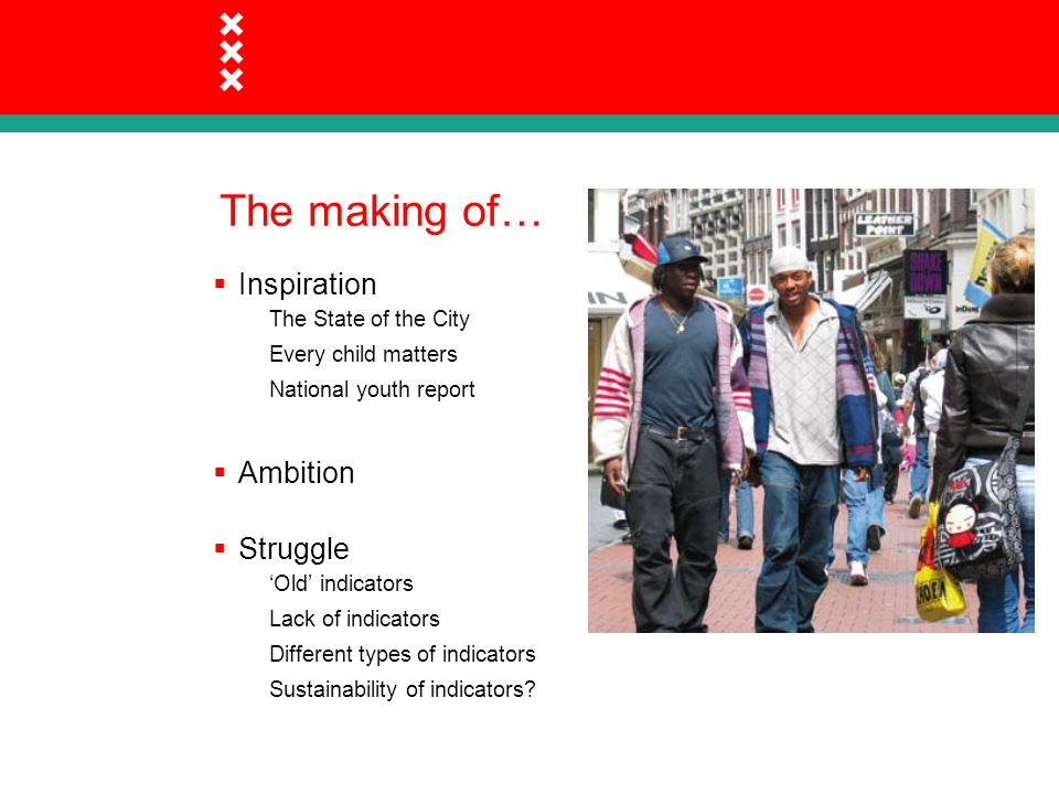 The making of…  Inspiration The State of the City Every child matters National youth report  Ambition  Struggle 'Old' indicators Lack of indicators Different types of indicators Sustainability of indicators