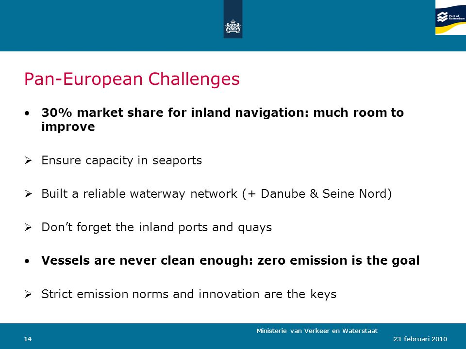 Ministerie van Verkeer en Waterstaat 1423 februari 2010 Pan-European Challenges 30% market share for inland navigation: much room to improve  Ensure capacity in seaports  Built a reliable waterway network (+ Danube & Seine Nord)  Don't forget the inland ports and quays Vessels are never clean enough: zero emission is the goal  Strict emission norms and innovation are the keys