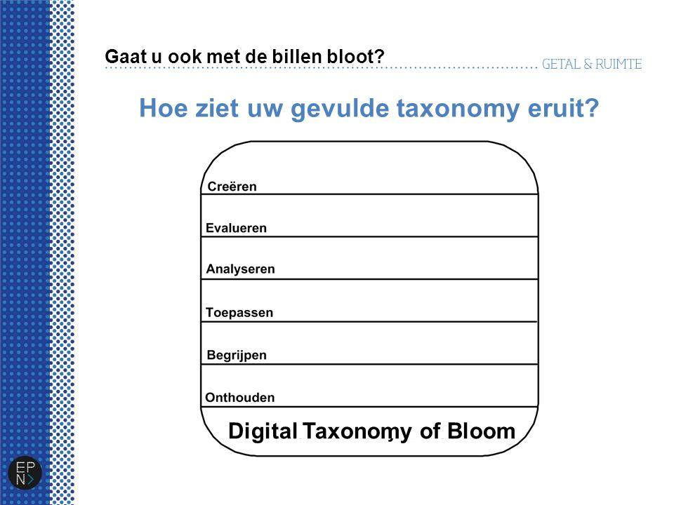 Hoe ziet uw gevulde taxonomy eruit? Gaat u ook met de billen bloot? Digital Taxonomy of Bloom