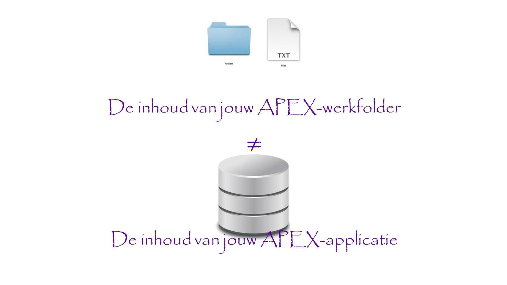 De inhoud van jouw APEX-werkfolder ≠ De inhoud van jouw APEX-applicatie