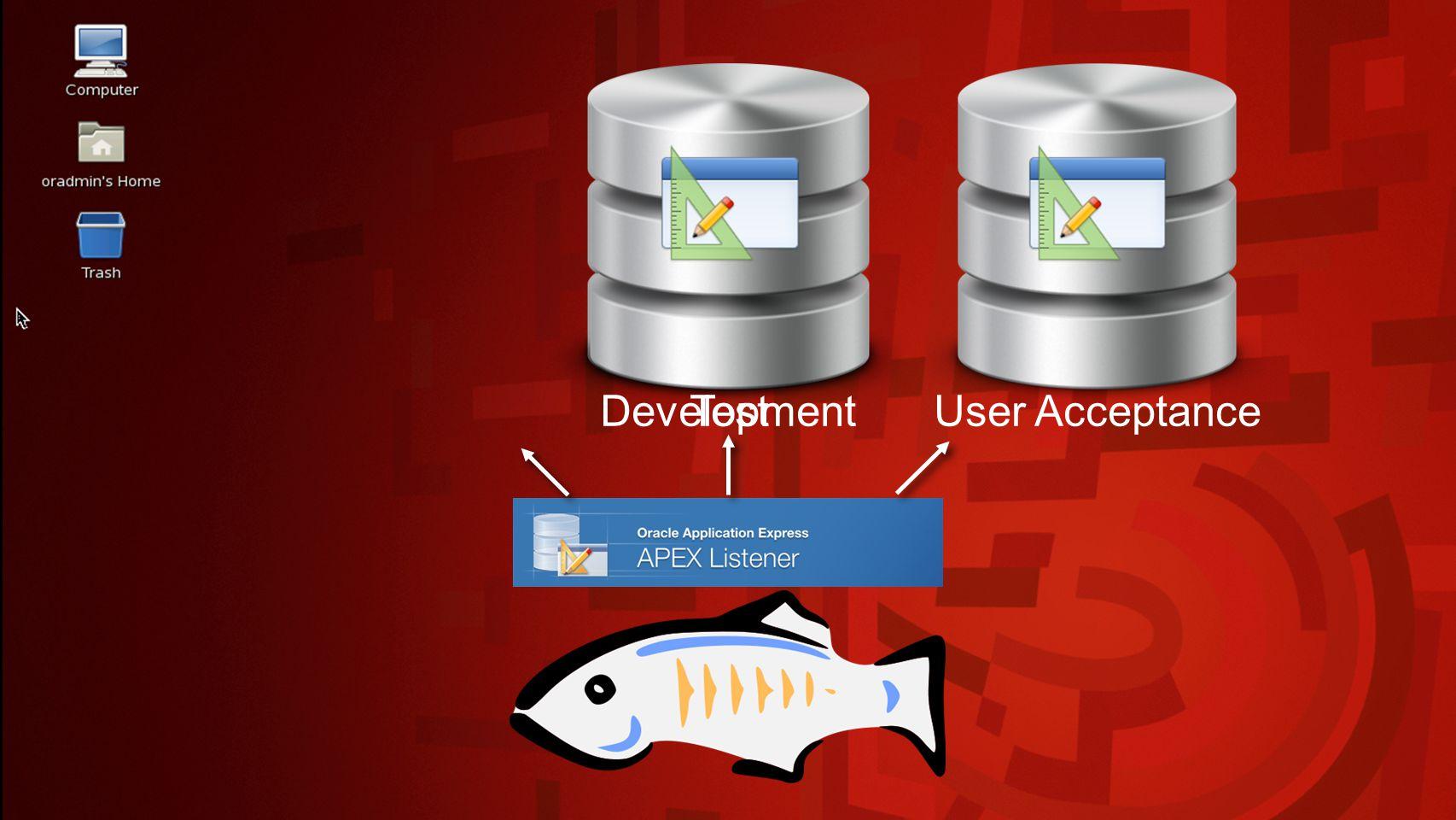 Development database APEX Workspace Ciber CV SCA SchemaSCA_UI SchemaSCA_API Schema SCA_DA TA SchemaCV_UI SchemaCV_API Schema CV_DAT A SchemaMETA User INSTALL Workspace RWIJK SCA SchemaRWIJK_UI SchemaRWIJK_API Schema RWIJK_DA TA Workspace MPLAS CV SCA SchemaMPLAS_UI SchemaMPLAS_API Schema MPLAS_DA TA UserRWIJK UserMPLAS SchemaUT