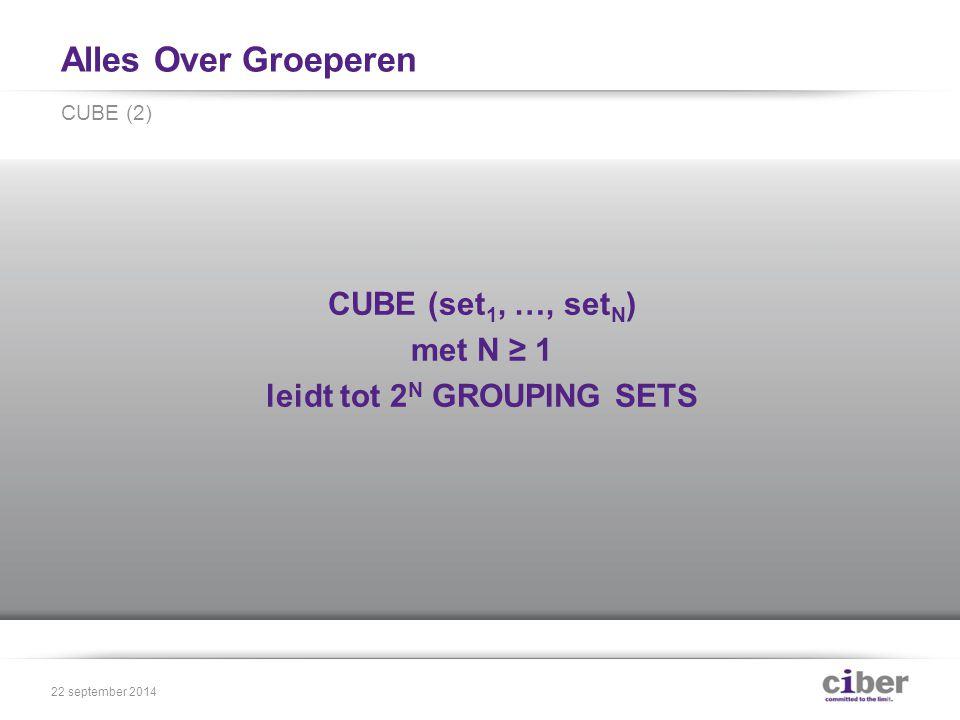 Alles Over Groeperen CUBE (set 1, …, set N ) met N ≥ 1 leidt tot 2 N GROUPING SETS CUBE (2) 22 september 2014
