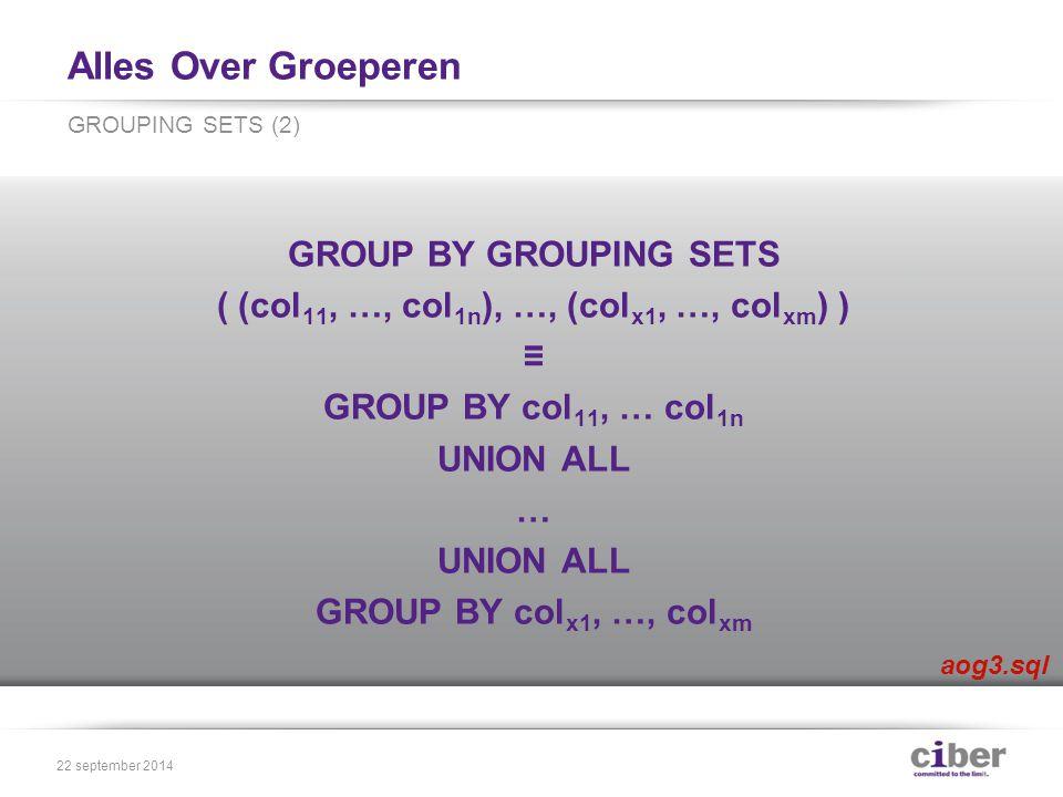 Alles Over Groeperen GROUP BY ROLLUP ( set 1, …, set n ) ≡ GROUP BY GROUPING SETS ( (set 1, …, set n ), (set 1, …, set n-1 ), …, set 1, () ) ROLLUP (1) 22 september 2014
