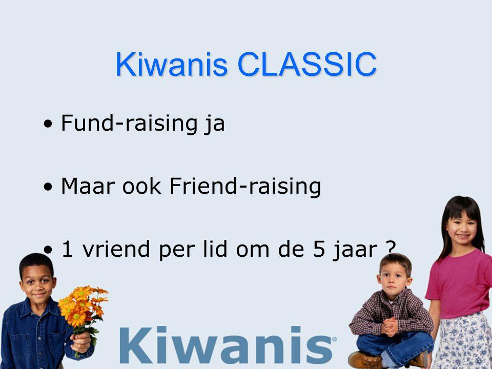 Kiwanis CLASSIC Fund-raising ja Maar ook Friend-raising 1 vriend per lid om de 5 jaar
