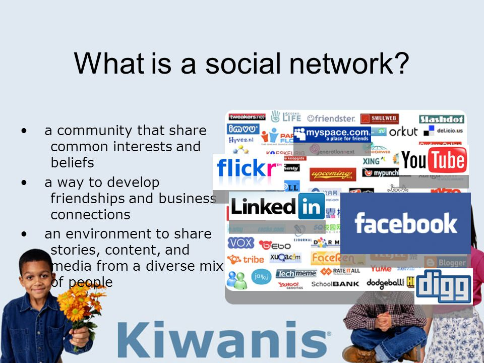 What is a social network? a community that share common interests and beliefs a way to develop friendships and business connections an environment to