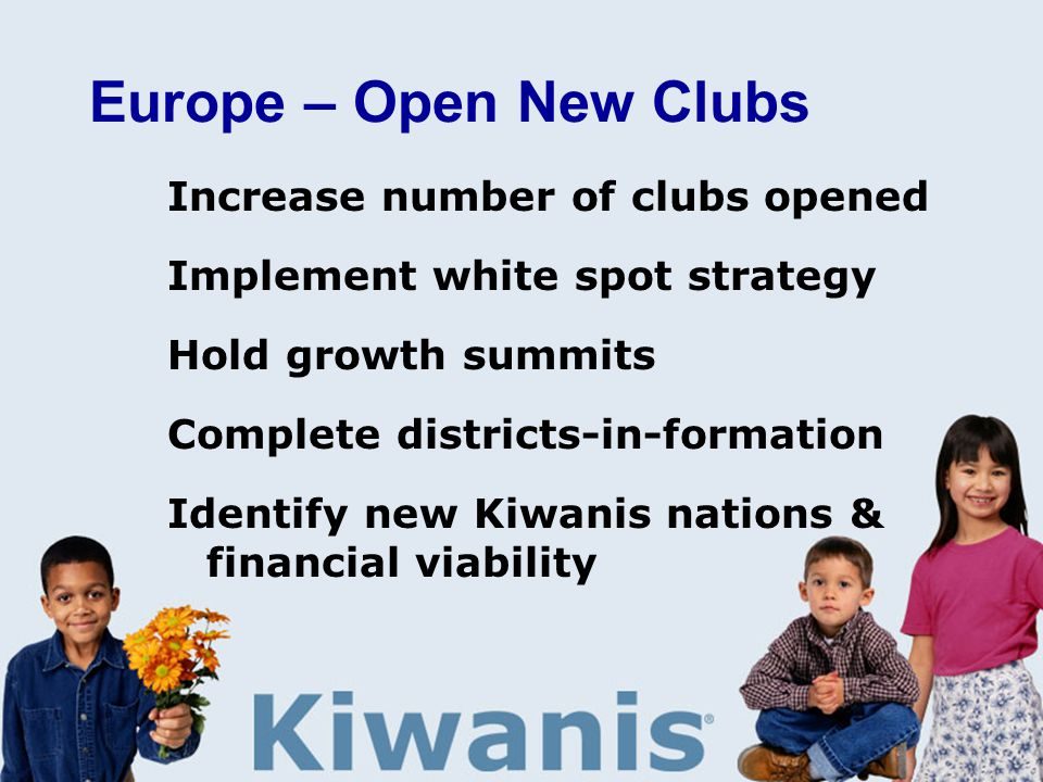 Europe – Open New Clubs Increase number of clubs opened Implement white spot strategy Hold growth summits Complete districts-in-formation Identify new