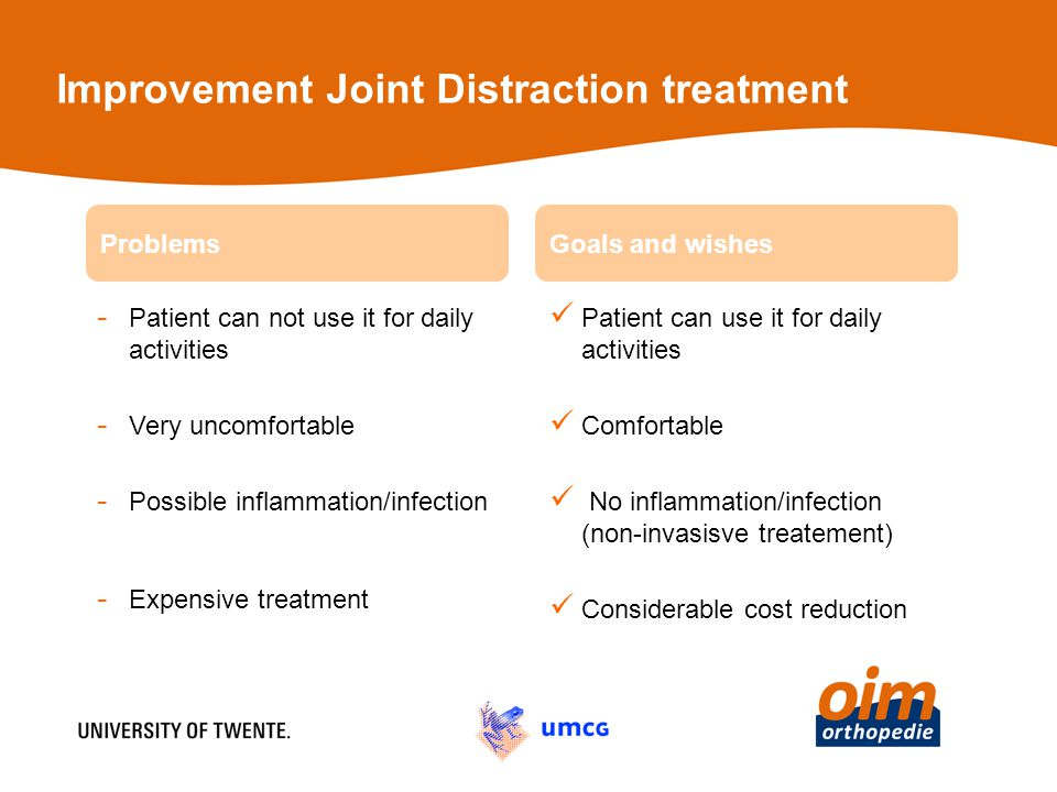 Improvement Joint Distraction treatment - Patient can not use it for daily activities - Very uncomfortable - Possible inflammation/infection - Expensive treatment Patient can use it for daily activities Comfortable No inflammation/infection (non-invasisve treatement) Considerable cost reduction ProblemsGoals and wishes