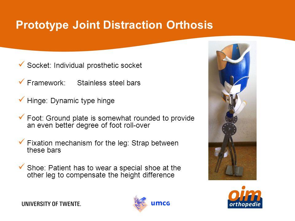 Prototype Joint Distraction Orthosis Socket: Individual prosthetic socket Framework: Stainless steel bars Hinge: Dynamic type hinge Foot: Ground plate