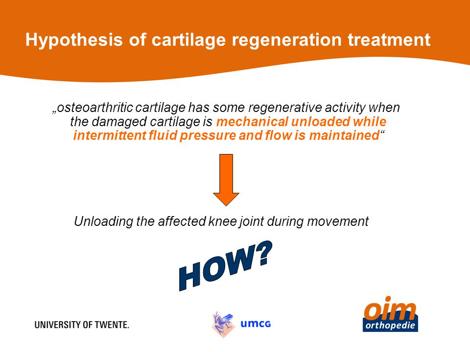 "Hypothesis of cartilage regeneration treatment ""osteoarthritic cartilage has some regenerative activity when the damaged cartilage is mechanical unloaded while intermittent fluid pressure and flow is maintained Unloading the affected knee joint during movement"