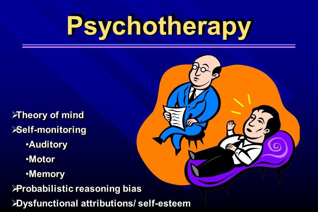 PsychotherapyPsychotherapy  Theory of mind  Self-monitoring AuditoryAuditory MotorMotor MemoryMemory  Probabilistic reasoning bias  Dysfunctional