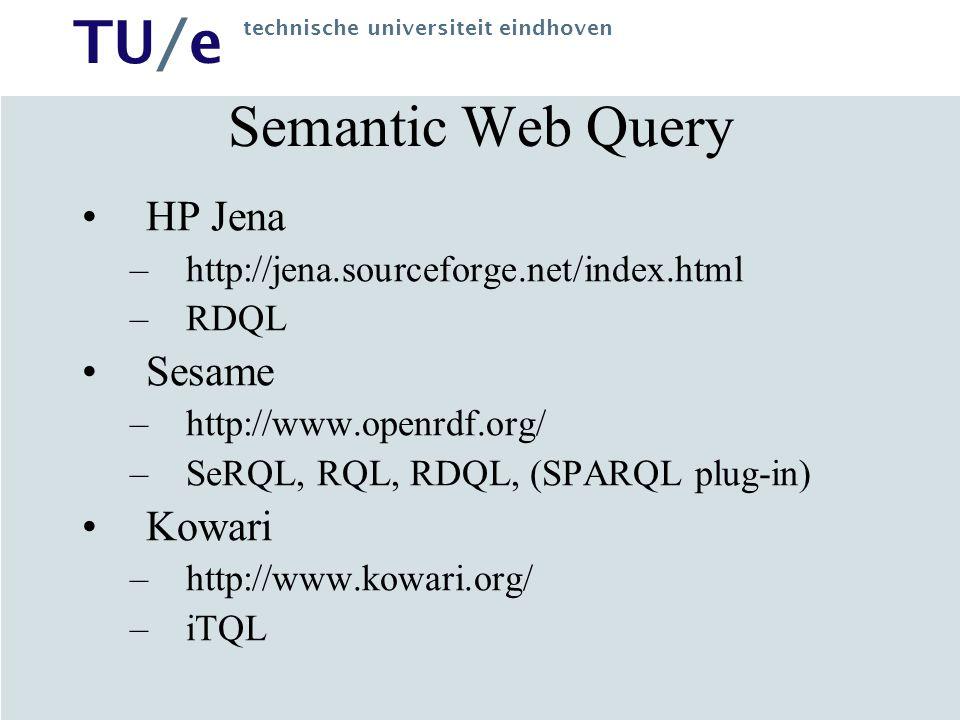 TU/e technische universiteit eindhoven Semantic Web Query HP Jena –http://jena.sourceforge.net/index.html –RDQL Sesame –http://www.openrdf.org/ –SeRQL, RQL, RDQL, (SPARQL plug-in) Kowari –http://www.kowari.org/ –iTQL