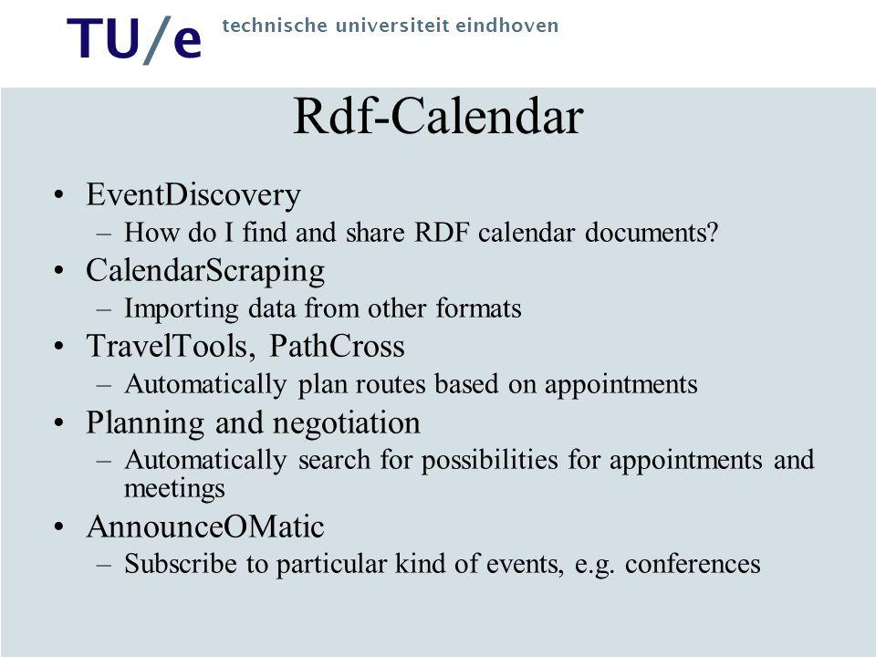 TU/e technische universiteit eindhoven Rdf-Calendar EventDiscovery –How do I find and share RDF calendar documents.