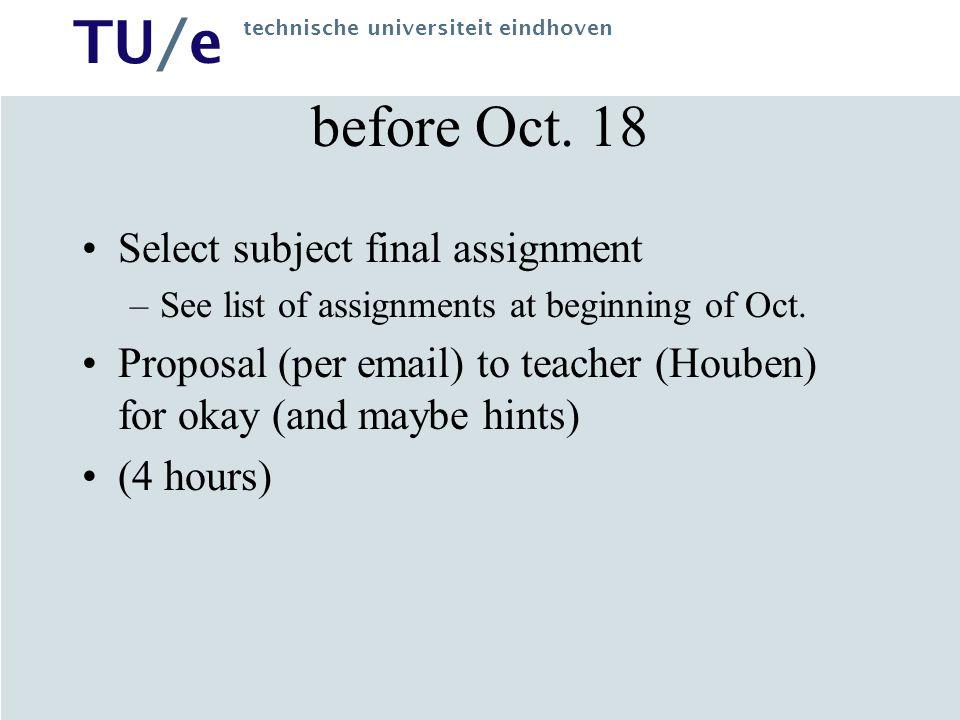 TU/e technische universiteit eindhoven before Oct.