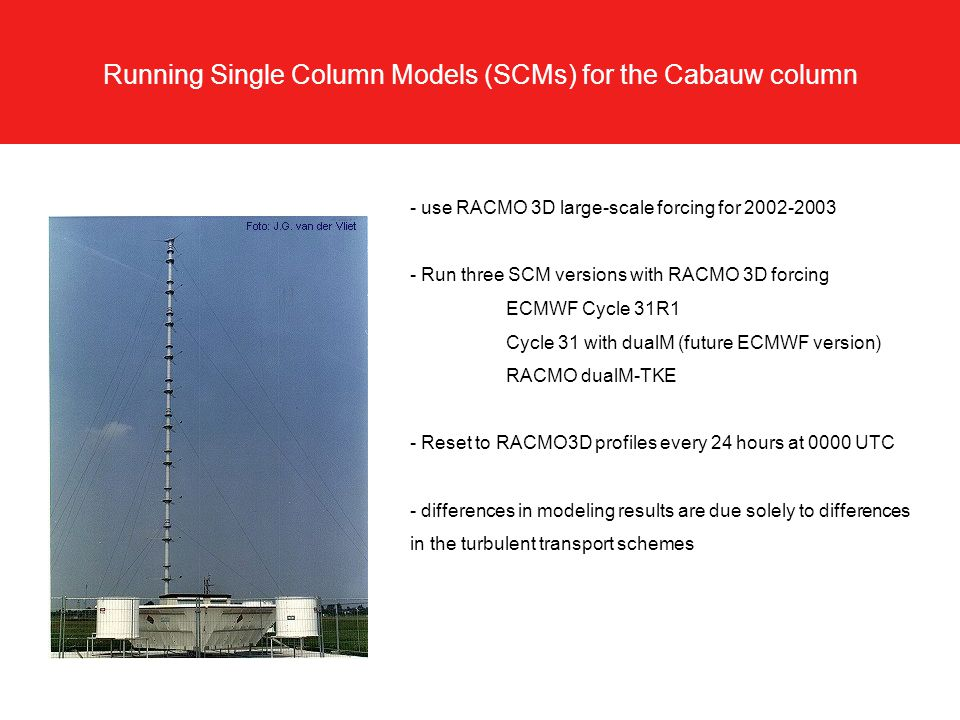 Running Single Column Models (SCMs) for the Cabauw column - use RACMO 3D large-scale forcing for 2002-2003 - Run three SCM versions with RACMO 3D forcing ECMWF Cycle 31R1 Cycle 31 with dualM (future ECMWF version) RACMO dualM-TKE - Reset to RACMO3D profiles every 24 hours at 0000 UTC - differences in modeling results are due solely to differences in the turbulent transport schemes