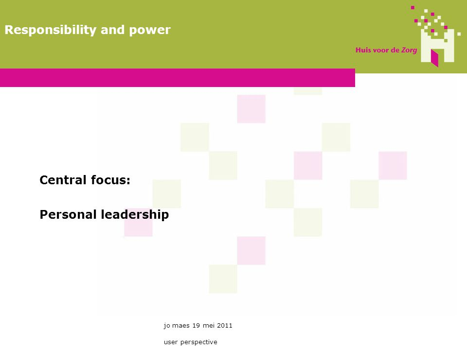 Central focus: Personal leadership jo maes 19 mei 2011 user perspective Responsibility and power