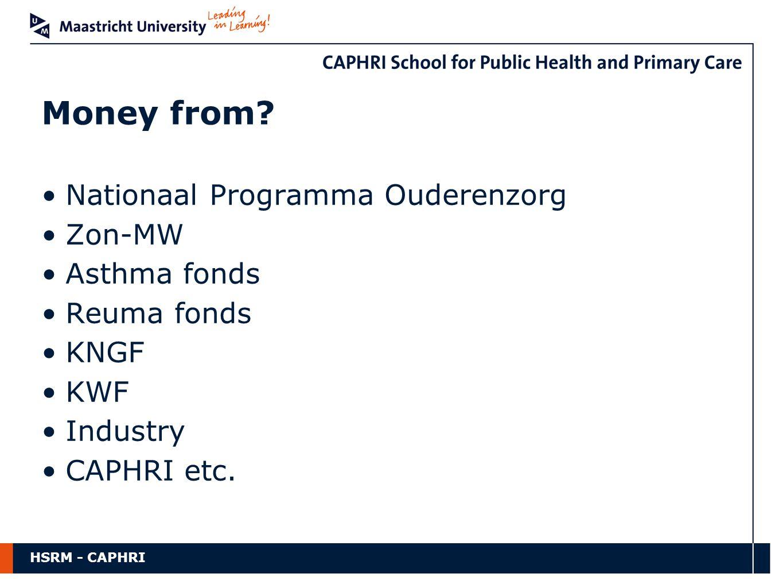HSRM - CAPHRI Nationaal Programma Ouderenzorg Zon-MW Asthma fonds Reuma fonds KNGF KWF Industry CAPHRI etc.