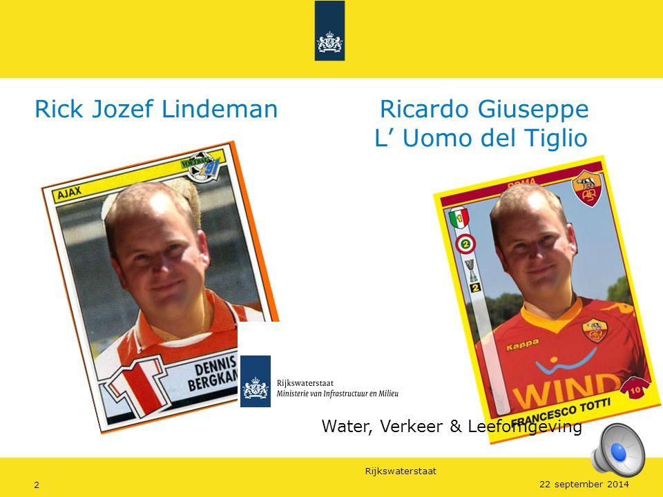 Rijkswaterstaat 2 22 september 2014 Rick Jozef Lindeman Ricardo Giuseppe L' Uomo del Tiglio Water, Verkeer & Leefomgeving
