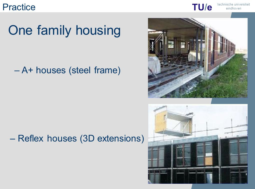 28 TU/e technische universiteit eindhoven One family housing – A+ houses (steel frame) – Reflex houses (3D extensions) Practice