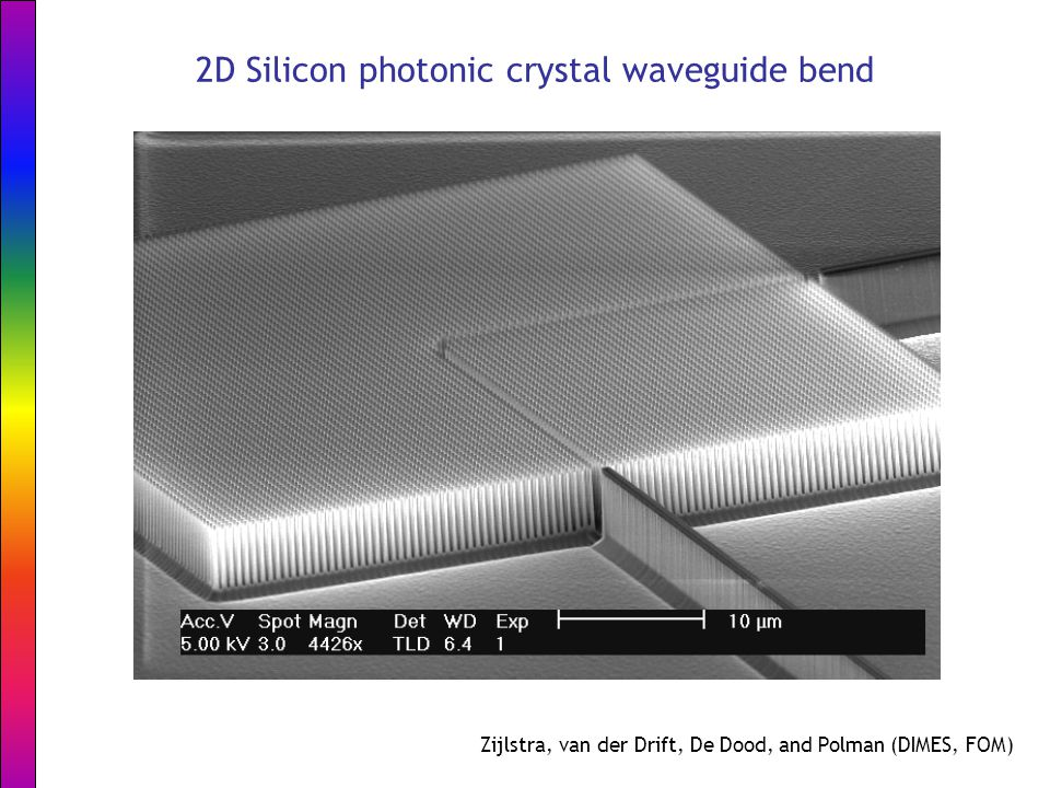 2D Silicon photonic crystal waveguide bend Zijlstra, van der Drift, De Dood, and Polman (DIMES, FOM)