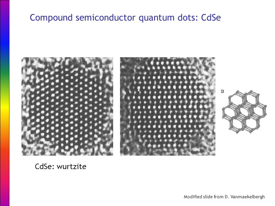 CdSe: wurtzite Modified slide from D. Vanmaekelbergh Compound semiconductor quantum dots: CdSe
