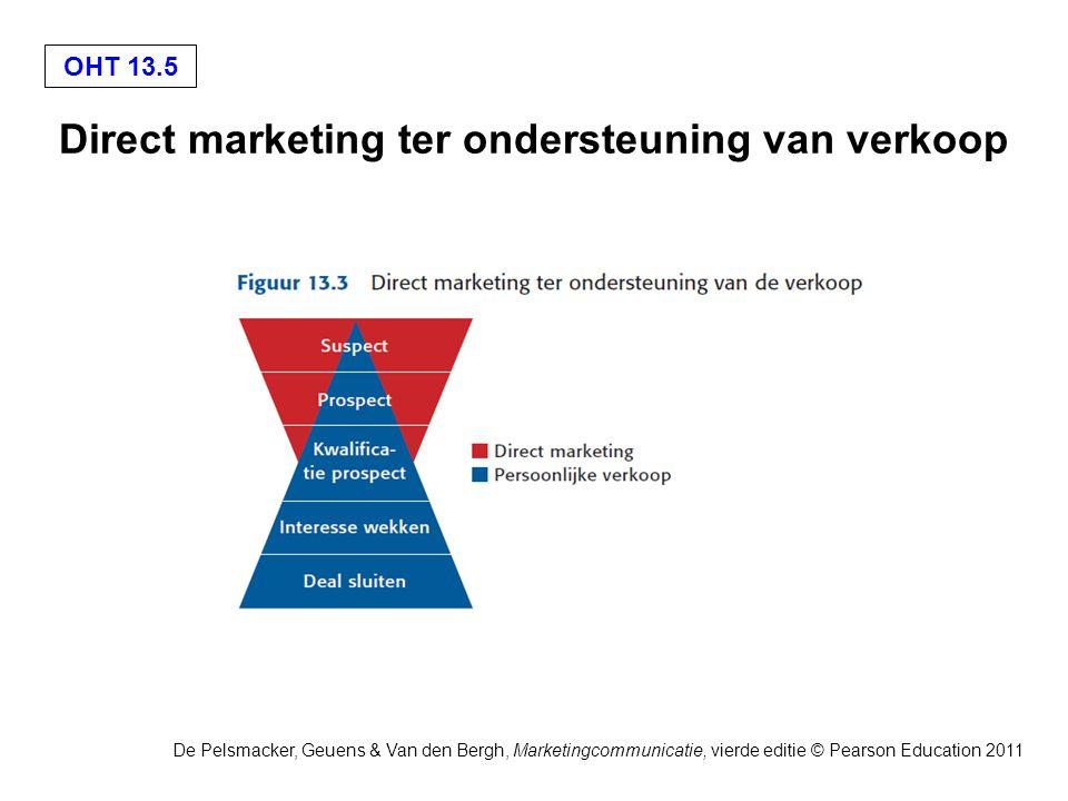 OHT 13.5 De Pelsmacker, Geuens & Van den Bergh, Marketingcommunicatie, vierde editie © Pearson Education 2011 Direct marketing ter ondersteuning van verkoop