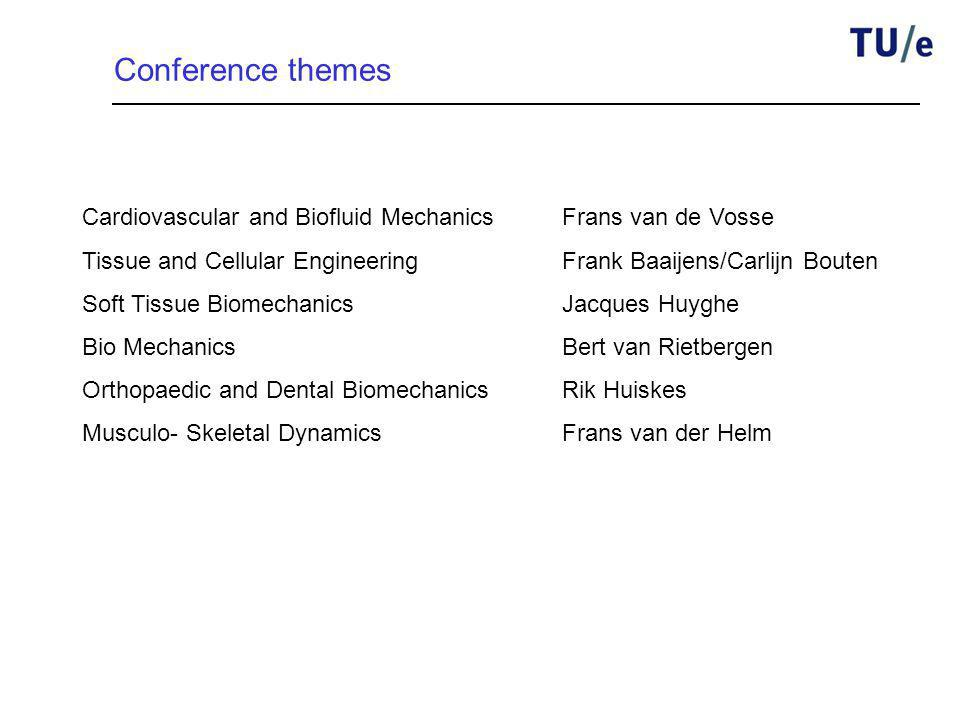 Conference themes Cardiovascular and Biofluid MechanicsFrans van de Vosse Tissue and Cellular EngineeringFrank Baaijens/Carlijn Bouten Soft Tissue Bio