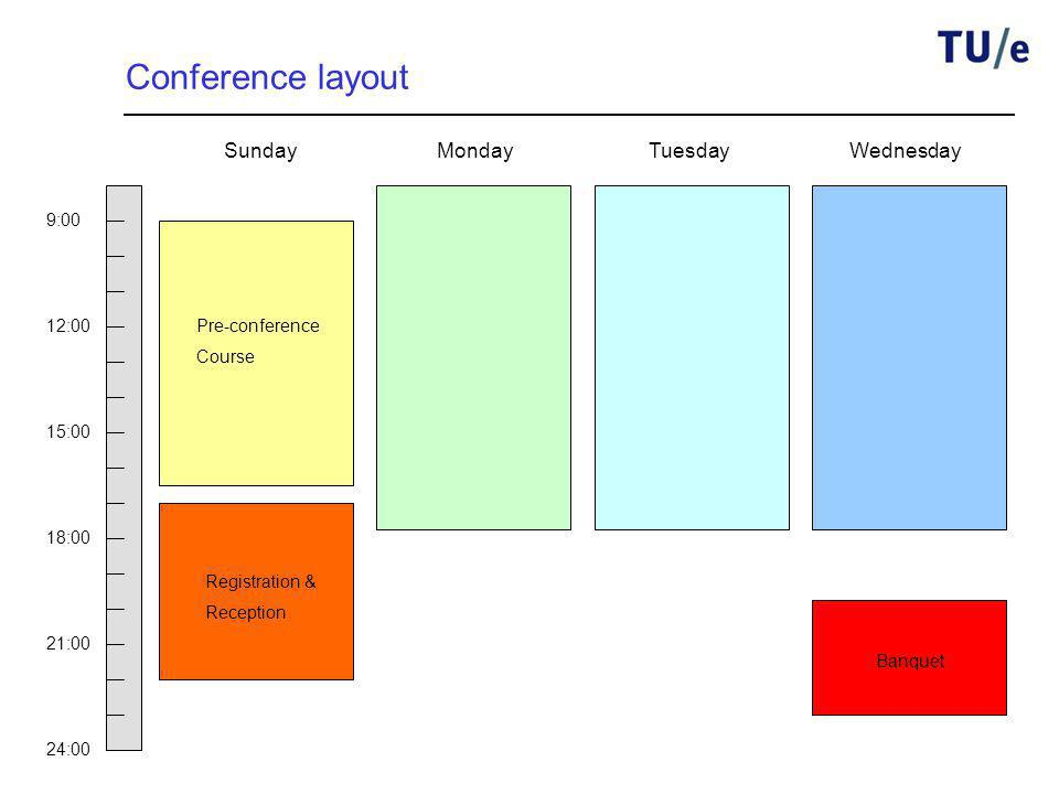 Conference layout 9:00 12:00 15:00 18:00 21:00 24:00 Registration & Reception Banquet SundayMondayTuesdayWednesday Pre-conference Course