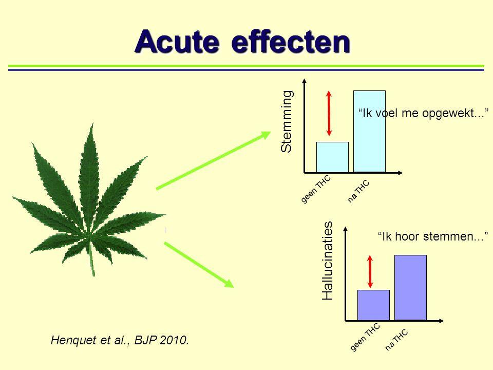"""Acute effecten geen THC Hallucinaties na THC Stemming geen THC na THC """"Ik voel me opgewekt..."""" """"Ik hoor stemmen..."""" Henquet et al., BJP 2010."""