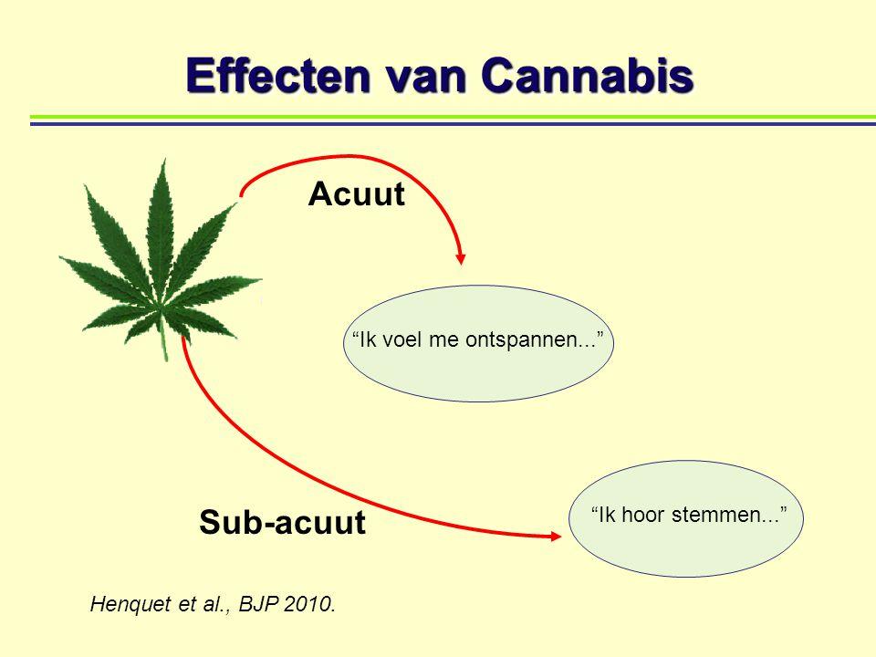 """Sub-acuut Acuut Effecten van Cannabis """"Ik voel me ontspannen..."""" """"Ik hoor stemmen..."""" Henquet et al., BJP 2010."""