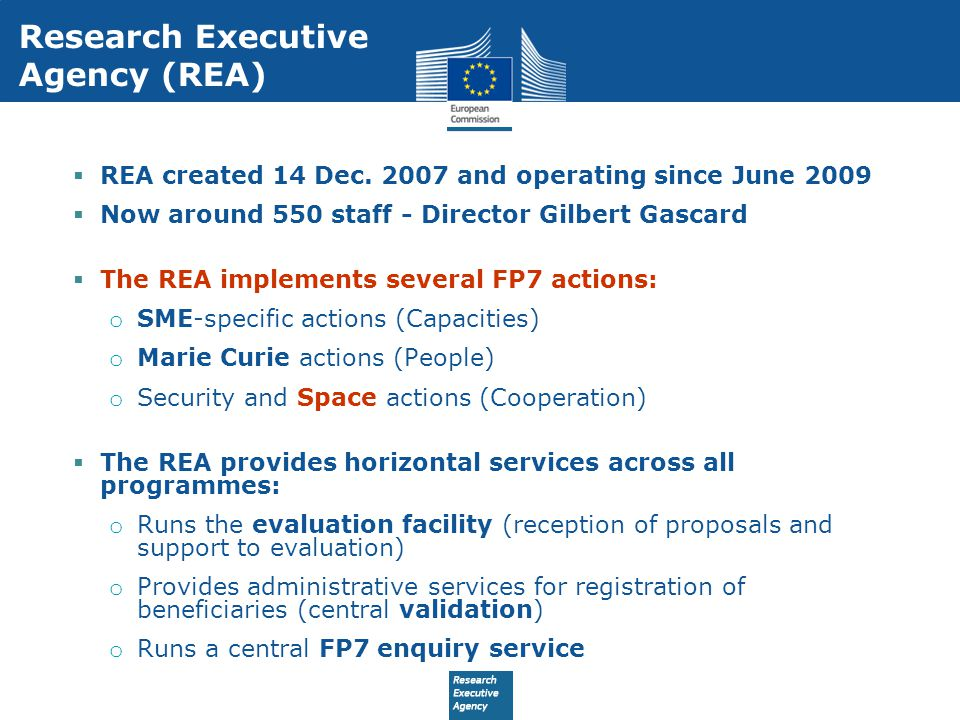 Research Executive Agency (REA)  REA created 14 Dec.