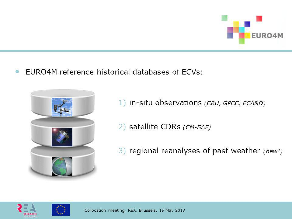 Collocation meeting, REA, Brussels, 15 May 2013 EURO4M reference historical databases of ECVs: 1)in-situ observations (CRU, GPCC, ECA&D) 2)satellite CDRs (CM-SAF) 3)regional reanalyses of past weather (new!)
