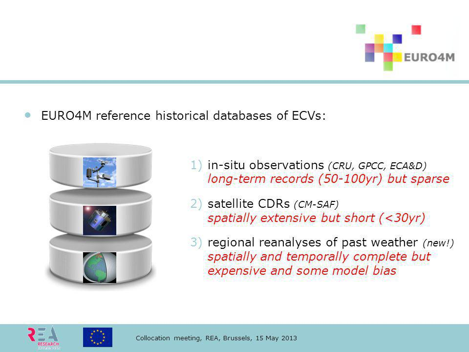 Collocation meeting, REA, Brussels, 15 May 2013 EURO4M reference historical databases of ECVs: 1)in-situ observations (CRU, GPCC, ECA&D) long-term records (50-100yr) but sparse 2)satellite CDRs (CM-SAF) spatially extensive but short (<30yr) 3)regional reanalyses of past weather (new!) spatially and temporally complete but expensive and some model bias