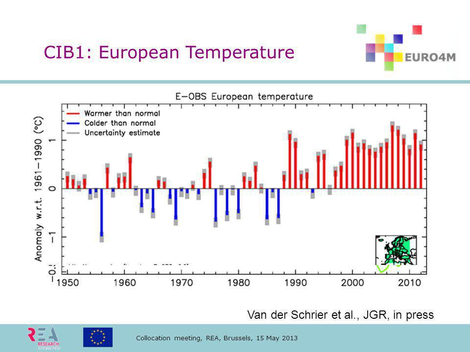 Collocation meeting, REA, Brussels, 15 May 2013 KNMI: European temperature Van der Schrier et al., JGR, in press CIB1: European Temperature