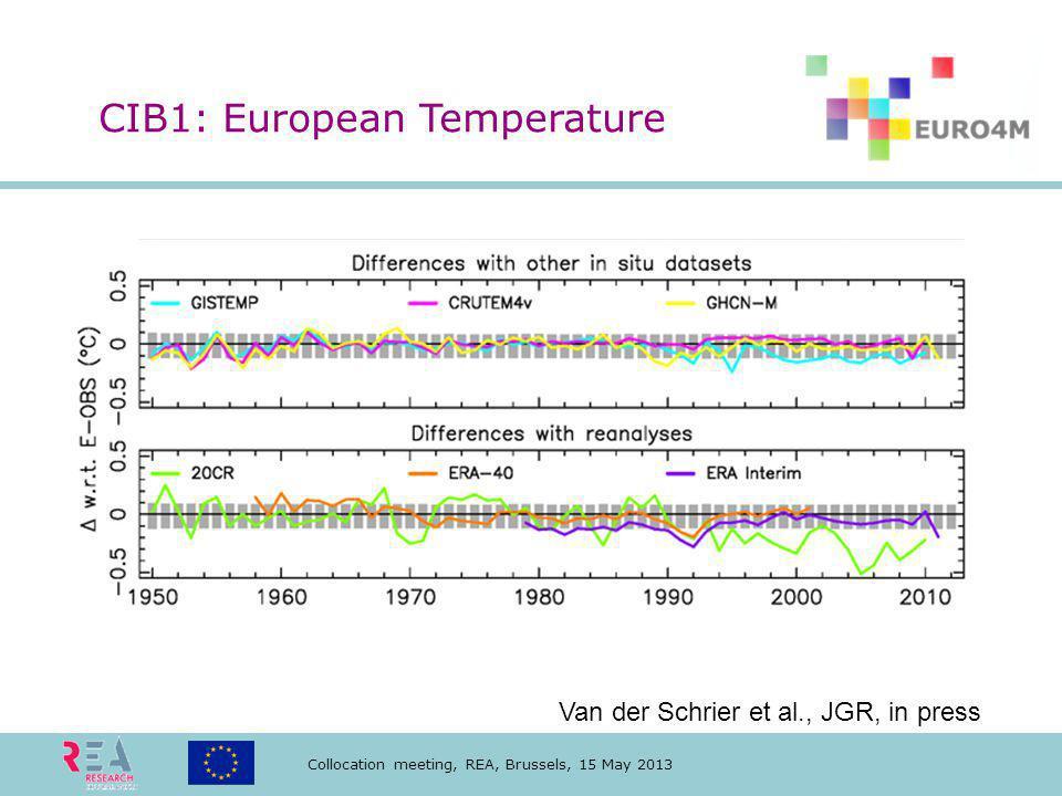 Collocation meeting, REA, Brussels, 15 May 2013 Van der Schrier et al., JGR, in press CIB1: European Temperature