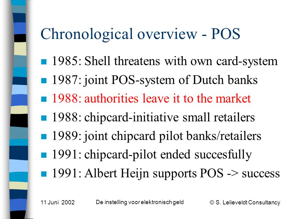 © S. Lelieveldt Consultancy 11 Juni 2002 De instelling voor elektronisch geld Chronological overview - POS n 1985: Shell threatens with own card-syste