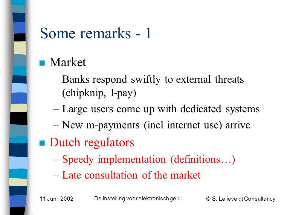 © S. Lelieveldt Consultancy 11 Juni 2002 De instelling voor elektronisch geld Some remarks - 1 n Market –Banks respond swiftly to external threats (ch
