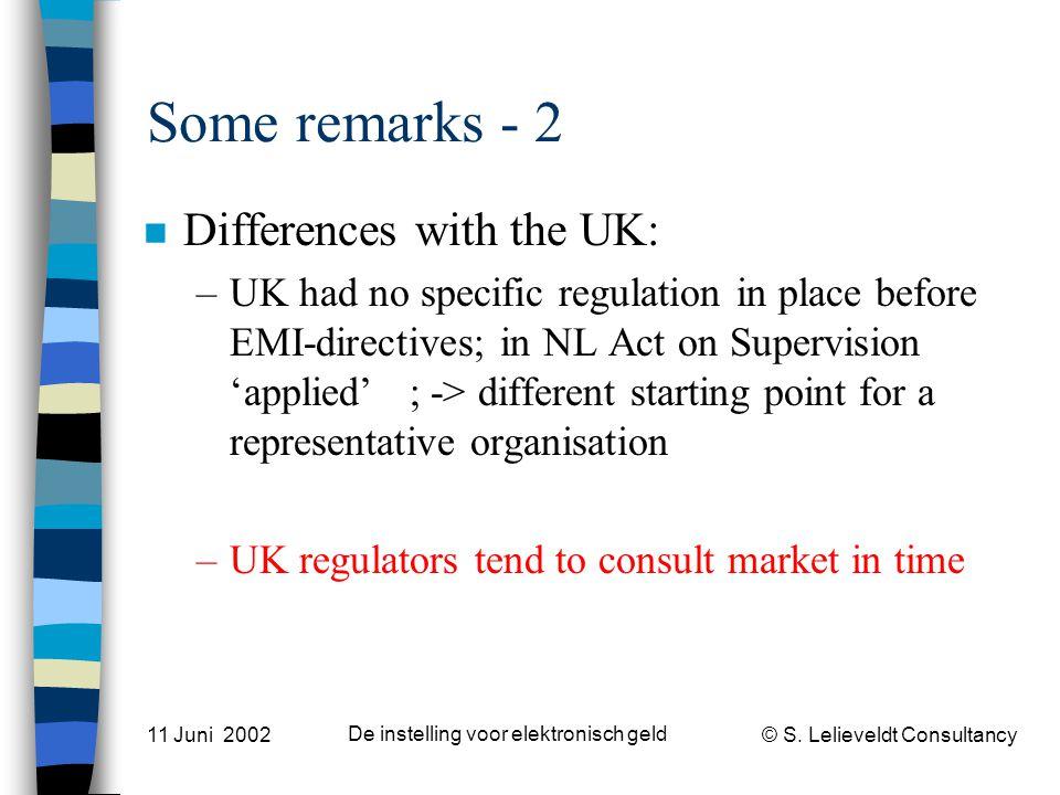 © S. Lelieveldt Consultancy 11 Juni 2002 De instelling voor elektronisch geld Some remarks - 2 n Differences with the UK: –UK had no specific regulati