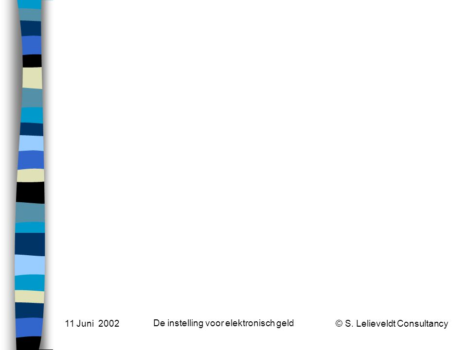 © S. Lelieveldt Consultancy 11 Juni 2002 De instelling voor elektronisch geld