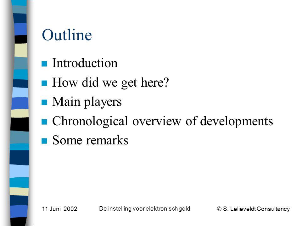 © S. Lelieveldt Consultancy 11 Juni 2002 De instelling voor elektronisch geld Outline n Introduction n How did we get here? n Main players n Chronolog
