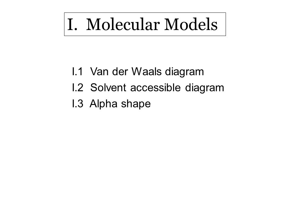 I.1 Van der Waals diagram I.2 Solvent accessible diagram I.3 Alpha shape I. Molecular Models