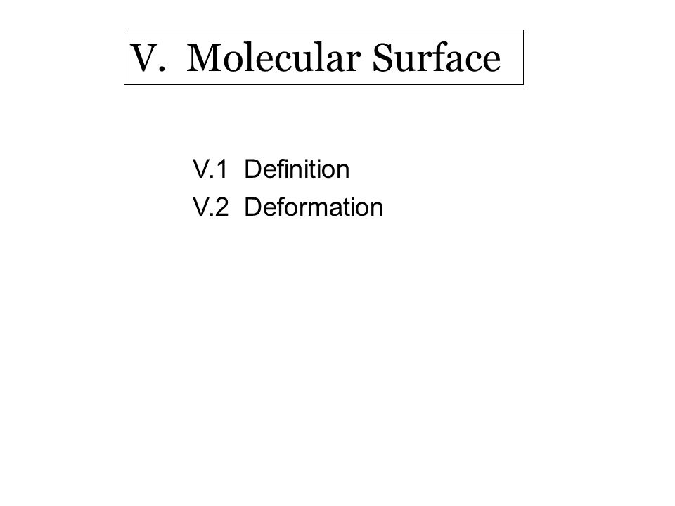 V.1 Definition V.2 Deformation V. Molecular Surface