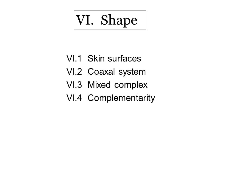 VI.1 Skin surfaces VI.2 Coaxal system VI.3 Mixed complex VI.4 Complementarity VI. Shape