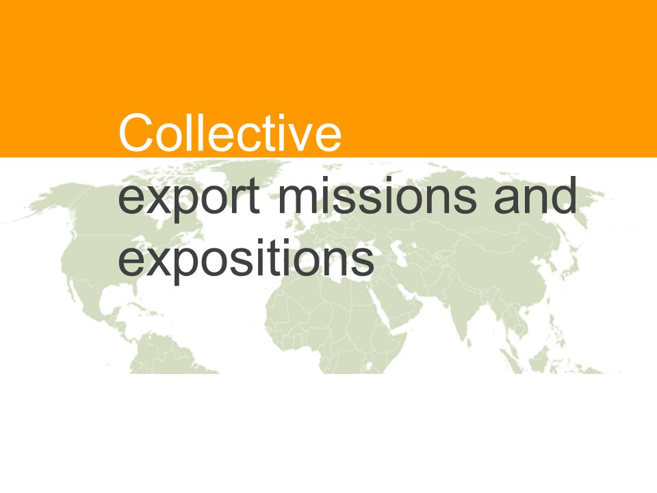 Collective export missions and expositions