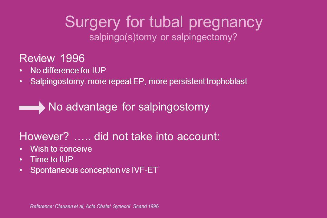 Salpingo(s)tomy or salpingectomy.