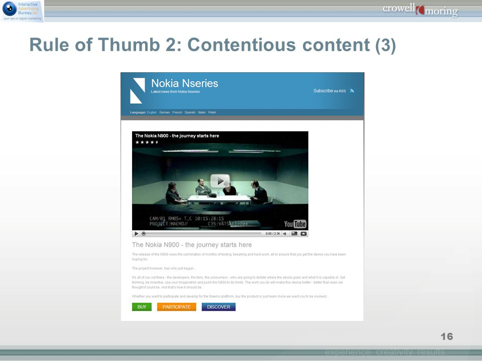 16 Rule of Thumb 2: Contentious content (3)